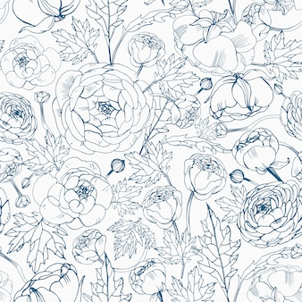 Floral seamless pattern with blooming ranunculus flowers, buds and leaves
