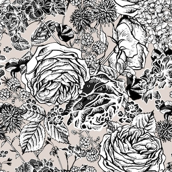 Floral seamless pattern with blooming roses