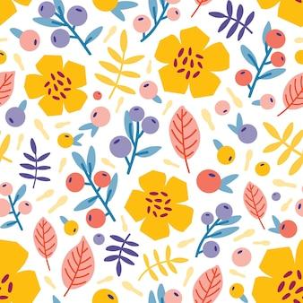 咲く夏の牧草地の植物と花のシームレスなパターン