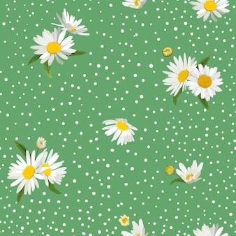 꽃 데이지 꽃과 꽃 완벽 한 패턴입니다. 섬유, 벽지, 포장 디자인을 위한 카모마일과 패브릭 자연 봄 배경. 벡터 일러스트 레이 션