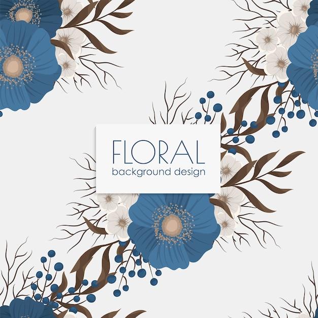 青い花とのシームレスな花柄