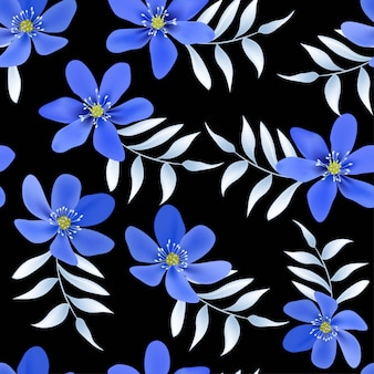 Floral seamless pattern with blue hepatica flower