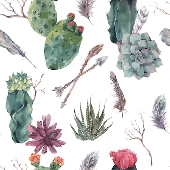 Floral seamless pattern with branches and succulent