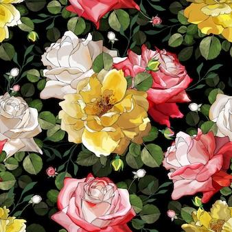 Цветочный фон с яркими цветочными розами.