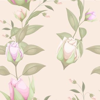 芽と葉と花のシームレスなパターン
