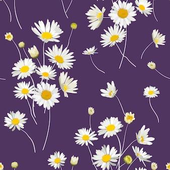 카모마일 꽃과 꽃 완벽 한 패턴입니다. 봄 여름 디자인 벽지, 장식, 인쇄용 데이지 꽃과 자연 배경. 벡터 일러스트 레이 션