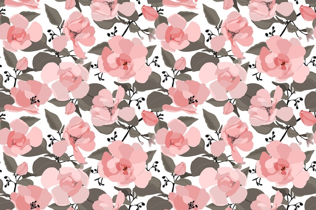 Floral seamless pattern with a chinese rose