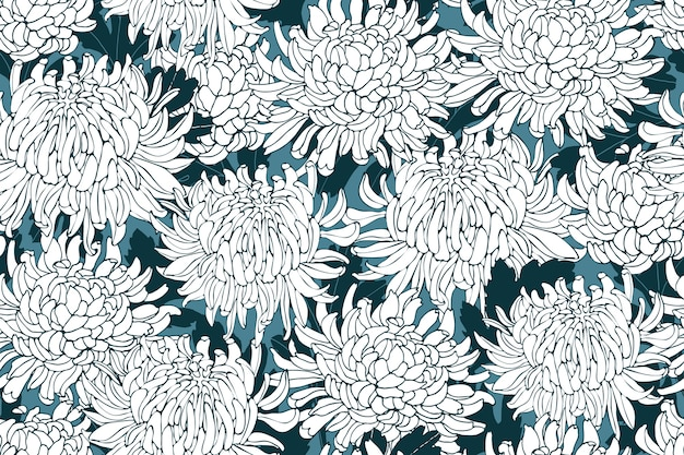 Floral seamless pattern with chrysanthemums. white flowers with deep green leaves