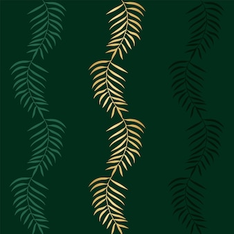 Floral seamless pattern with colorful exotic green and gold branches palm trees on a green background. abstract   vector illustration with tropical plants for wallpaper, posters, card.