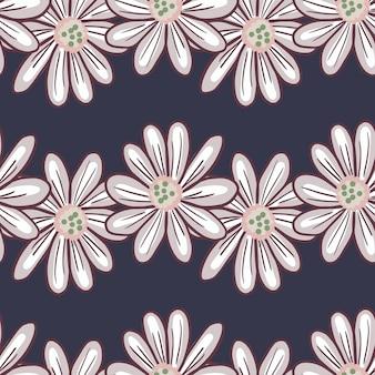 Цветочный фон с орнаментом контурные ромашки большие цветы. темно-синий фон. блум печать. фондовый рисунок. векторный дизайн для текстиля, ткани, подарочной упаковки, обоев.