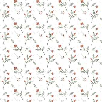 Dogrose와 로즈힙 벡터 일러스트와 함께 꽃 원활한 패턴 꽃의 간단한 배경