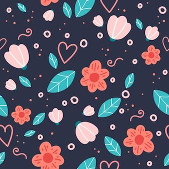 낙서 꽃과 잎과 꽃 완벽 한 패턴입니다.