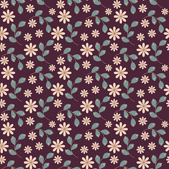 Floral seamless pattern with doodle flowers and leaves