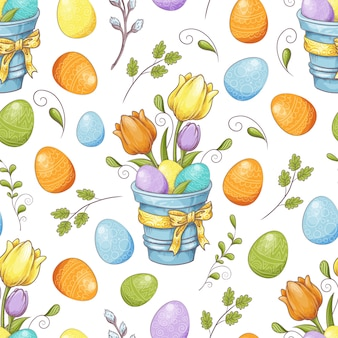 계란과 양식에 일치시키는 꽃 꽃 원활한 패턴
