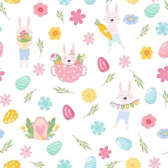 卵鳥と様式化された花と花のシームレスなパターン春のデザインのための無限のテクスチャ