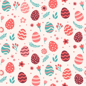 Floral seamless pattern with eggs