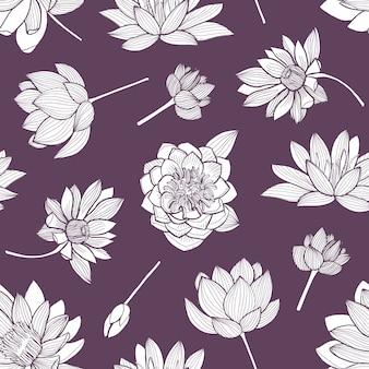 紫色の背景に輪郭線で描かれたエレガントな咲く蓮の手でシームレスな花柄。