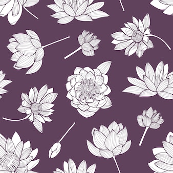 Floral seamless pattern with elegant blooming lotus hand drawn with contour lines on purple background.