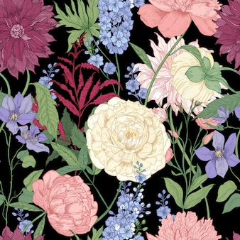 Floral seamless pattern with elegant flowers and flowering plants used in floristry hand drawn on black background
