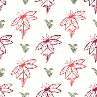 Floral seamless pattern with ethnic style hand drawn leaf elements.