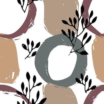 花の葉と葉と抽象的なカラフルな円と花のシームレスなパターン。背景または壁紙、装飾的な植物学または包装紙。テクスチャまたはテキスタイルデザイン。フラットスタイルのベクトル