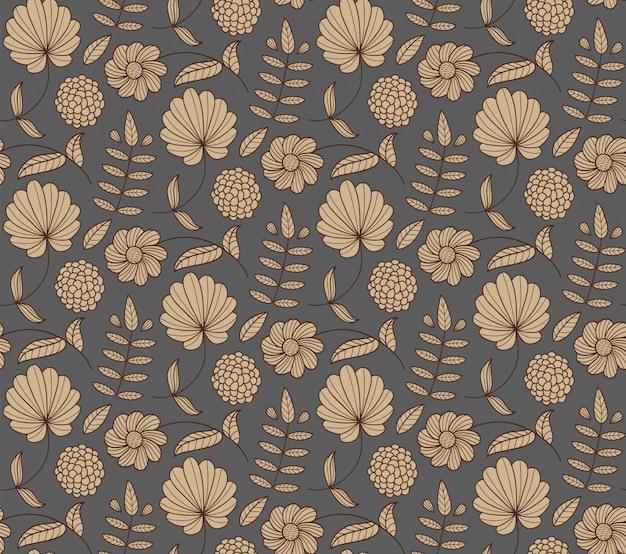 꽃, 잎, 분기와 꽃 완벽 한 패턴입니다. 자연 배경.