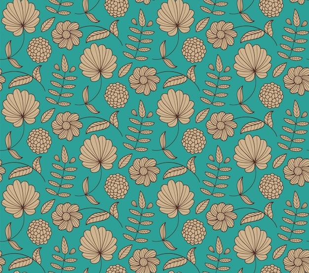 花、葉、枝とのシームレスな花柄。自然な手描きの背景。エンドレス。