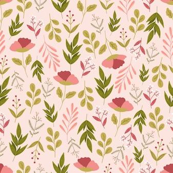 花と葉と花のシームレスなパターン