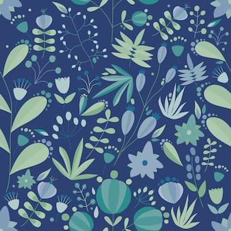 暗闇の中で花や植物と花のシームレスなパターン