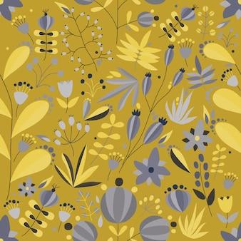 노란색 배경에 꽃과 식물이 있는 매끄러운 꽃무늬. 열 대 벡터 일러스트 레이 션.