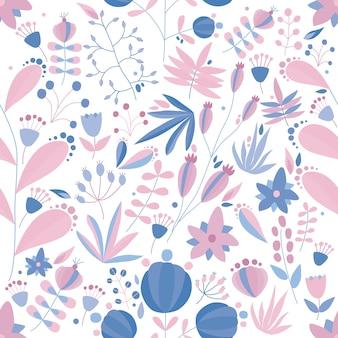 花や植物と花のシームレスなパターン