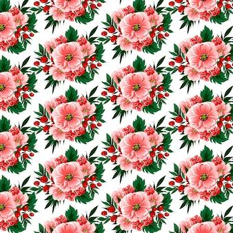 Цветочный фон с цветами, ягодами и тропическими листьями