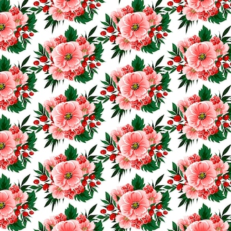 Floral seamless pattern with flowers, berries and tropical leaves