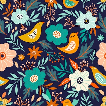 Floral seamless pattern with flowers and birds