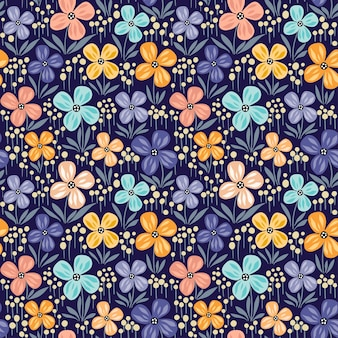 Floral seamless pattern with flowers in bloom and leaves. hand drawn design