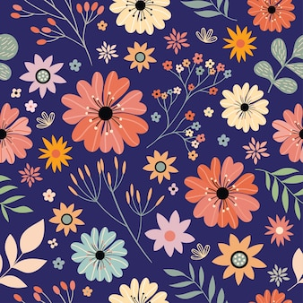 Floral seamless pattern with flowers in bloom
