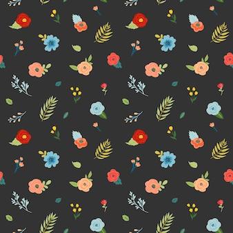 꽃, 꽃 봉 오리와 잎 꽃 완벽 한 패턴입니다. 섬유, 포장, 벽지에 대한 직물 식물 배경. 패션 인쇄 최소한의 디자인. 벡터 일러스트 레이 션
