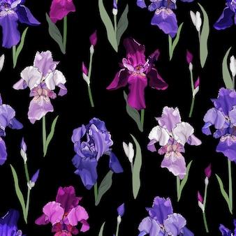 Цветочный фон с цветами ирисов.