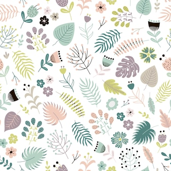 Floral seamless pattern with flowers, plants and leaves