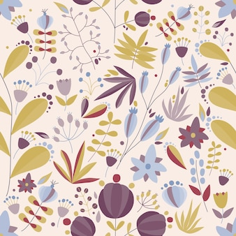 Floral seamless pattern with flowers and plants in light background