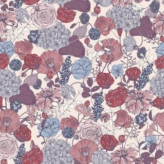 花、ビンテージ背景とシームレスな花柄。カラフルなイラスト。