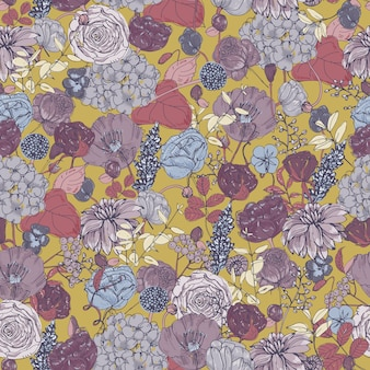 Floral seamless pattern with flowers, vintage background. colorful   illustration.