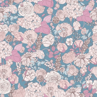 Floral seamless pattern with flowers, vintage background.