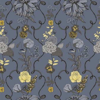 Floral seamless pattern with flowers, vintage style