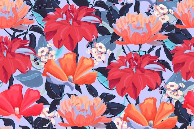 庭の花と花のシームレスなパターン。濡れた赤いダリア、オレンジ色のキンセンカ、分離された青い葉と白いアジサイ