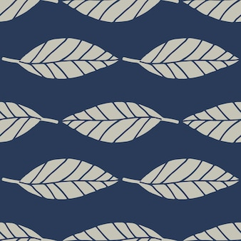 Floral seamless pattern with geometric lines leafs. botanic elements in grey color on navy blue background.
