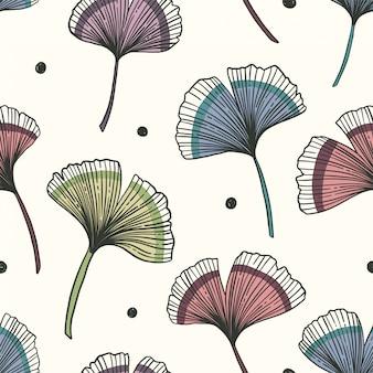 Цветочный фон с листьями гинкго. иллюстрации.