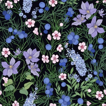 Floral seamless pattern with gorgeous blooming flowers and wild flowering herbs on black background.