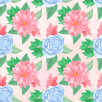 Floral seamless pattern with gorgeous pink and blue flowers