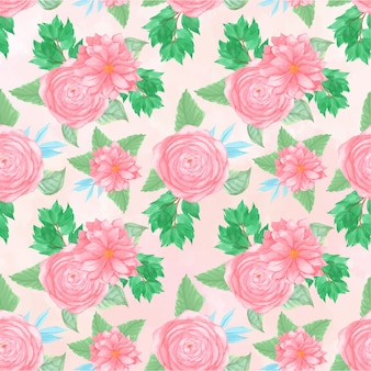 Floral seamless pattern with gorgeous pink flowers